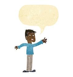 Cartoon worried man reaching with speech bubble vector