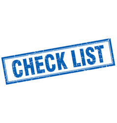 Check list blue square grunge stamp on white vector