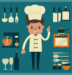 Chef with kitchenware equipment vector