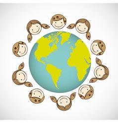 Children around the world on white background vector