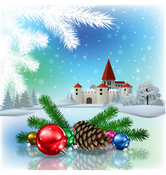 christmas greeting with silhouette of castle vector image vector image
