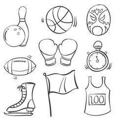 Collection of sport equipment hand draw vector