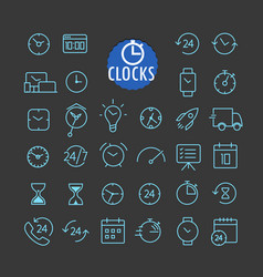 different clock icons collection web and mobile vector image vector image