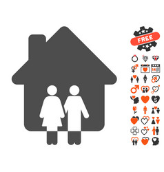 family house icon with dating bonus vector image vector image