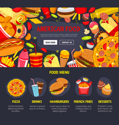 Fast food web site landing page template vector
