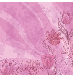 Flowers tulips on abstract background vector image vector image