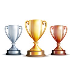 gold silver and bronze winners cup vector image vector image
