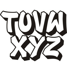 graffiti font part 3 vector image vector image