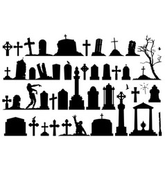Gravestones and tombstones set vector