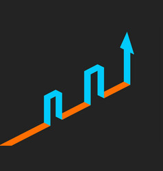 isometric arrow up reaching the target through vector image