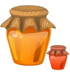 Jar with honey healthy dessert vector