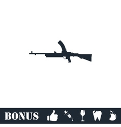Machine gun icon flat vector image
