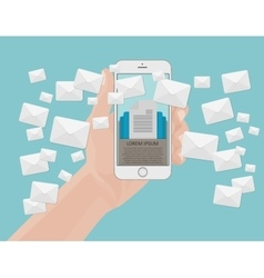 Many envelopes messages from smartphone screen in vector
