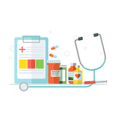 medical set of objects tablets medicines vector image vector image