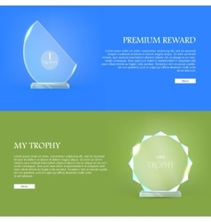 Premium reward my trophy triumph glass award vector