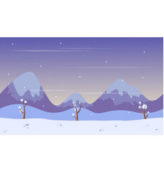 Scenery mountain at winter background game vector