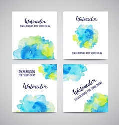 Set of banners with green and blue watercolor vector