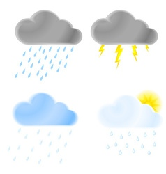 Set of icons of thunder clouds with rain heavy vector