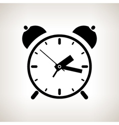 Silhouette alarm clock on a light background vector