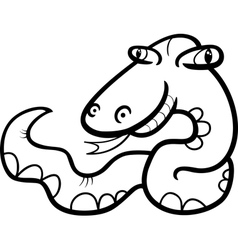 Snake cartoon coloring page vector