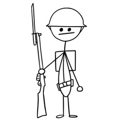 Stickman cartoon of british ww1 wwi soldier vector