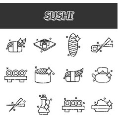 Sushi cartoon concept icons vector