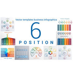 Templates business infographics 6 positions vector