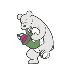 White bear is playing a musical instrument vector