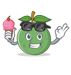 with ice cream guava character cartoon style vector image