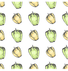 yellow and green pepper on white seamless pattern vector image vector image