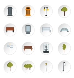Park icons set flat style vector