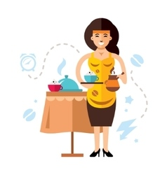 Girl and coffee Flat style colorful vector image