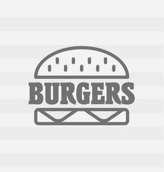 Hamburger linear icon fast food sign burger vector