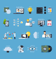 neural meshes networks decorative icons set vector image