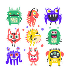 friendly cartoon funny monsters and aliens set vector image