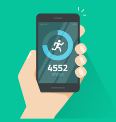 Fitness tracking app on mobile phone screen vector