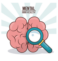 Mental health human brain with magnifier image vector