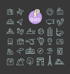 Different travel icons collection web and mobile vector