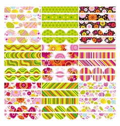 Easter set of border design elements vector