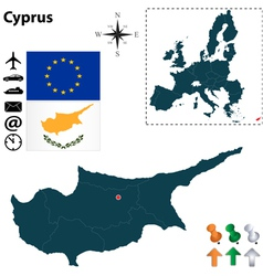 Cyprus and european union map vector