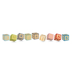 Word christmas written with alphabet blocks vector