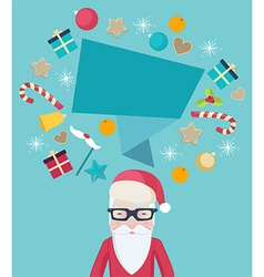 Santa Claus wearing glasses with a speech bubble vector image