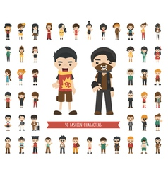Set of fashion character vector