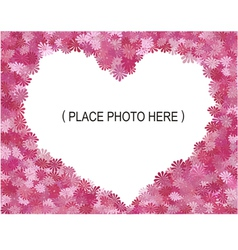 flowers frame shape heart vector image