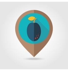 Plum flat mapping pin icon vector