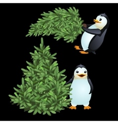 Two fun penguin carrying a green christmas tree vector