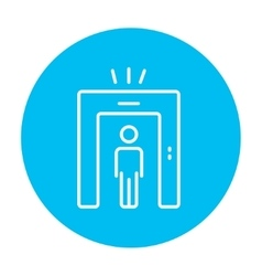 Man going through metal detector gate line icon vector