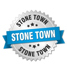 Stone town round silver badge with blue ribbon vector