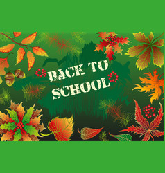 Back to school background with autumn leaves vector