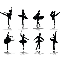 ballerinas with reflection vector image vector image